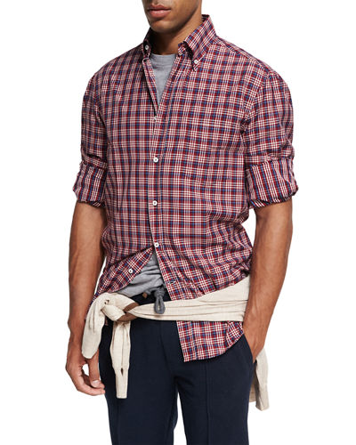 Madras Plaid Cotton Twill Shirt