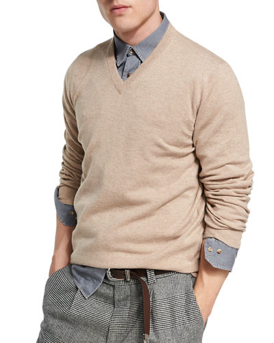 CASHMERE VNECK SWEATER WITH