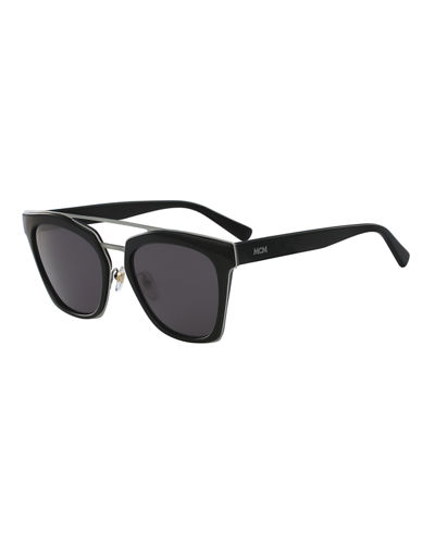 Square Schoolboy Double-Bridge Sunglasses