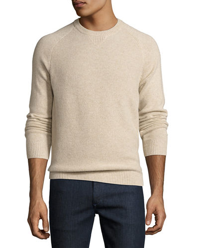 Tuck-Stitch Cashmere Crewneck Sweater
