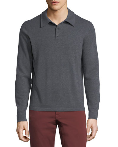 Cashmere Long-Sleeve Polo Sweater