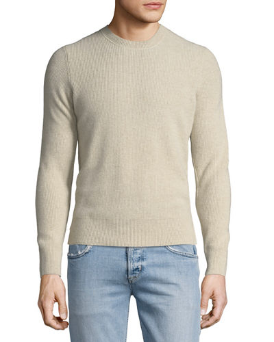 Ribbed Cashmere Crewneck Sweater