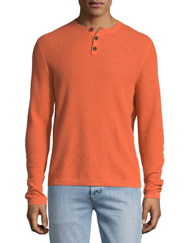 Cashmere-Cotton Henley Sweater