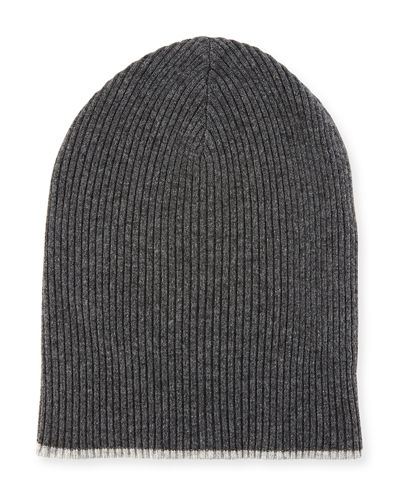 Cashmere Ribbed Hat w/Reversible Cuff
