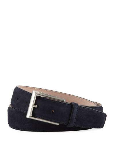 Suede Rectangular-Buckle Belt