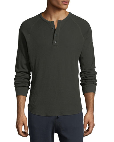Double-Knit Raglan Henley T-Shirt