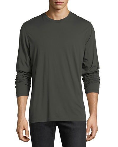 Raw-Edge Long-Sleeve Crewneck T-Shirt