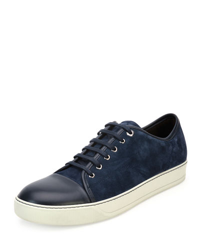 Men's Suede Cap-Toe Low-Top Sneaker