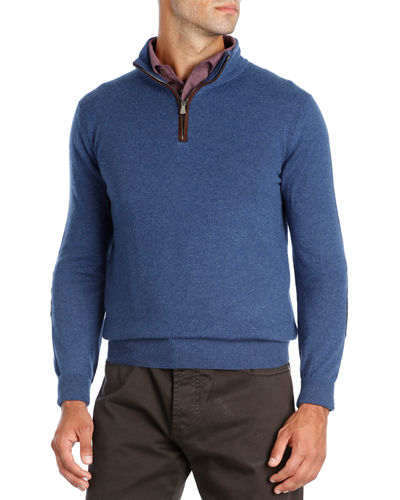 Half-Zip Cashmere Sweater with Suede Trim