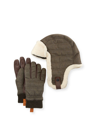 Men's Shearling-Trim Hat & Gloves Gift Set