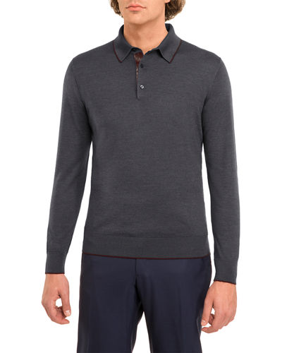 Crocodile-Trim Wool-Silk Polo Sweater