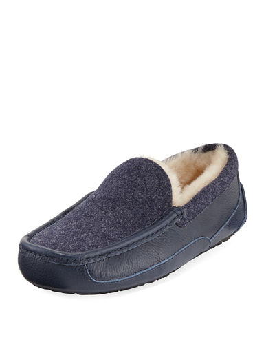 Ascot Leather & Wool Slipper