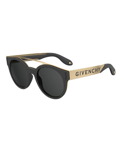 Stainless Steel & Rubber Round Logo Sunglasses