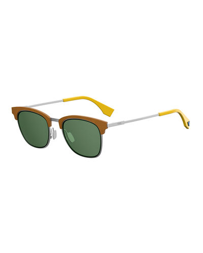 Qbic Men's Half-Rim Square Sunglasses
