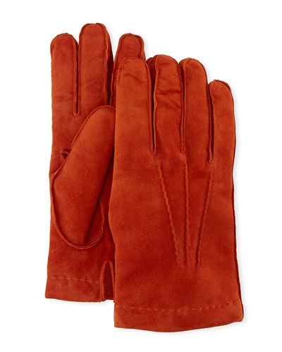 5fc590d8eee GUANTI GIGLIO FIORENTINO Cashmere-Lined Suede Gloves
