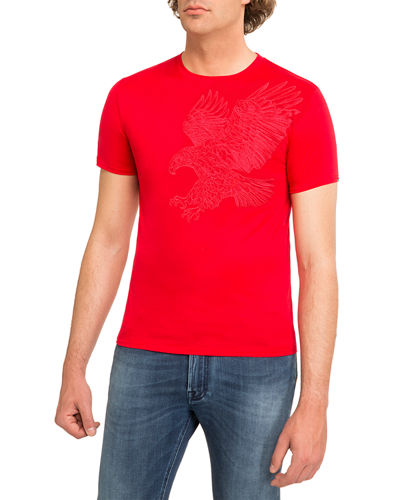 Embroidered Eagle Crewneck T-Shirt