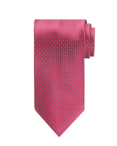 Dashed-Square Printed Silk Tie
