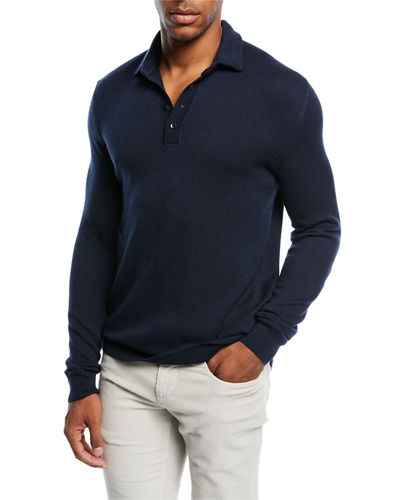 Piqué Long-Sleeve Polo Sweater