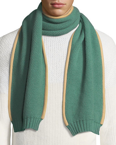 Men's Cashmere Scarf w/ Nubuck Piping