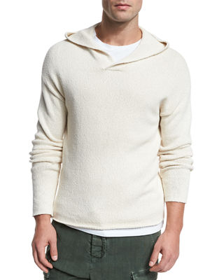 Vince Textured Cotton Pullover Hoodie