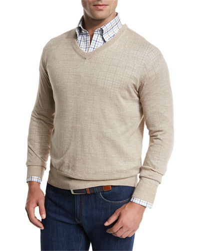 Lightweight Wool-Linen V-Neck Sweater