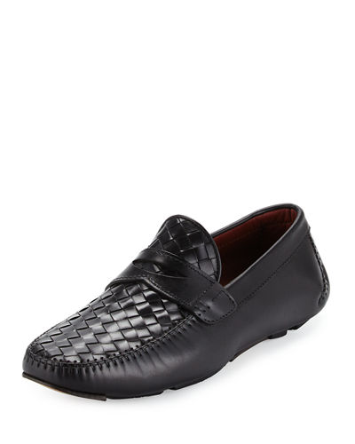 Magnanni for Neiman Marcus Woven Leather Penny Driver