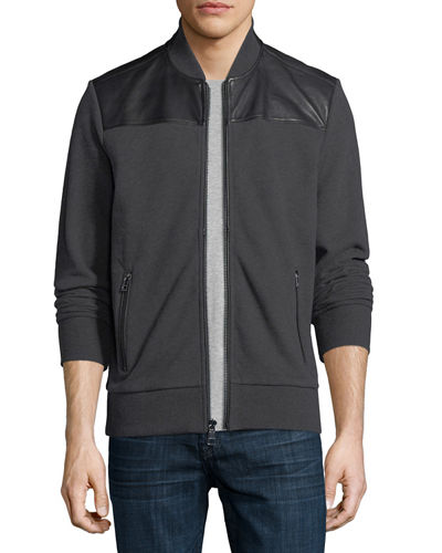 French Terry Bomber Jacket with Leather Trim