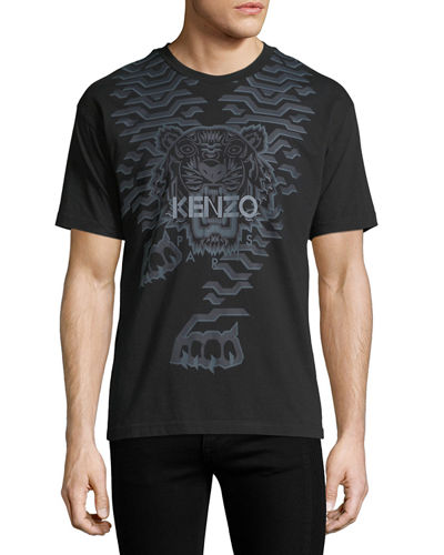 Geometric Tiger-Graphic T-Shirt