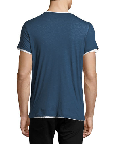 Double-Layer Cotton/Cashmere Crewneck T-Shirt