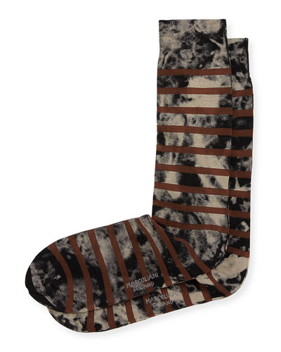 Tie-Dye Striped Cotton Socks