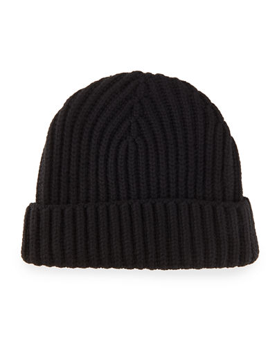 Ribbed Cashmere Beanie Hat