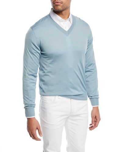 Wool-Blend V-Neck Sweater