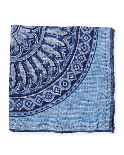Large Medallion-Print Pocket Square