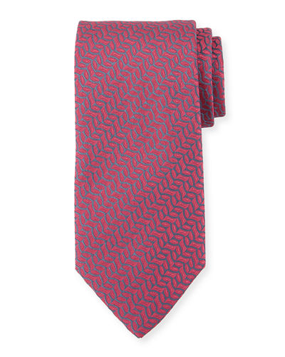Vine-Striped Silk Tie