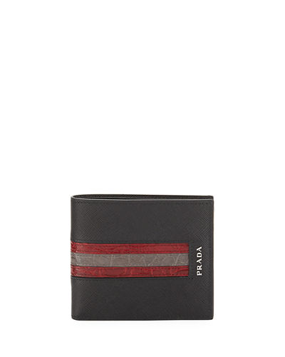 Saffiano Leather Bi-Fold Wallet with Crocodile Stripe