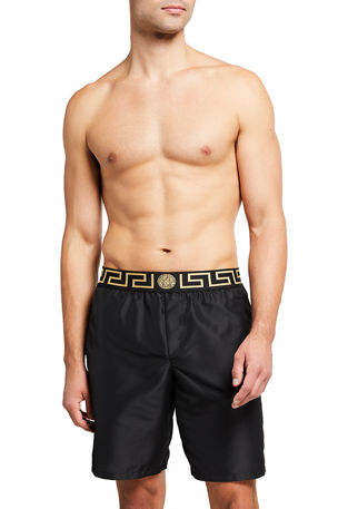 Versace Long Swim Trunks w/ Greek Key Waistband