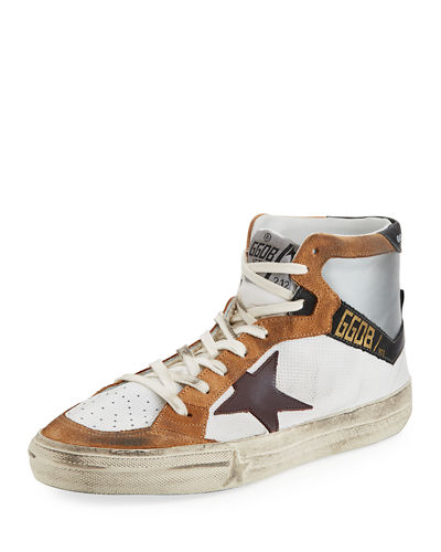 Multicolor High-Top Leather Sneaker