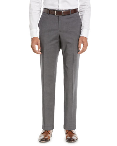 Matty Techno-Wool Flat-Front Trim Trousers