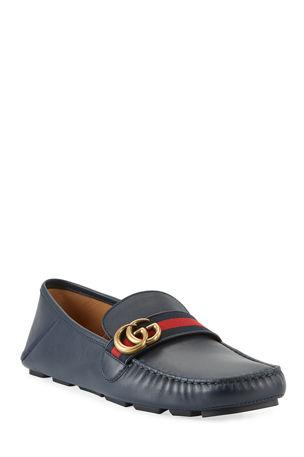 Gucci Men's Noel Leather Drivers with GG Web Strap
