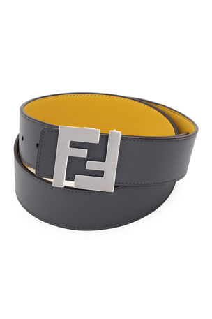 Fendi Men's FF-Buckle Leather Belt