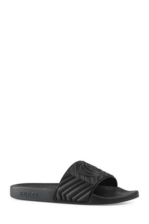 Gucci Men's Quilted Rubber Slide Sandals
