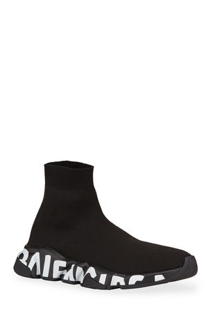 Balenciaga Men's Speed Sneakers with Logo on Sole