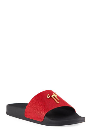 Giuseppe Zanotti Men's Tetra Leather Logo Slide Sandals