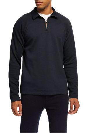 Vince Men's French Rib-Knit Quarter-Zip Sweater
