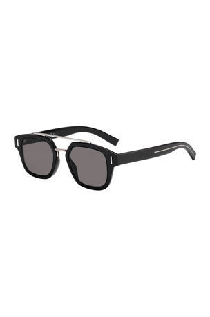Dior Men's Fraction1 Square Metal-Trim Sunglasses