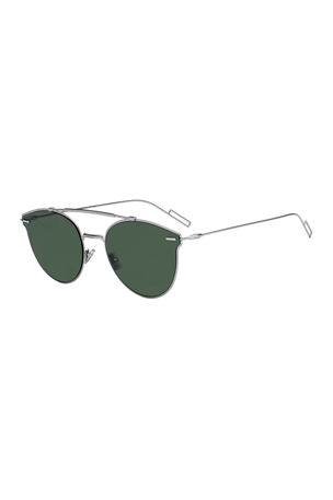 Dior Men's DiorPressure Mirrored Round Metal Sunglasses