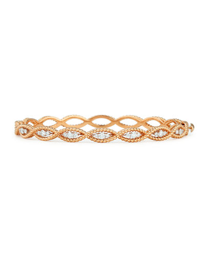 Barocco 18k Diamond Oval Bangle Bracelet