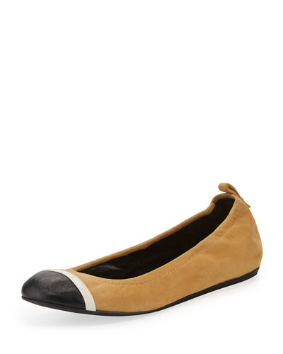 Graphic Cap-Toe Ballerina Flat