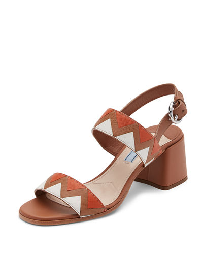 Prada Greca Leather Slingback 55mm Sandal