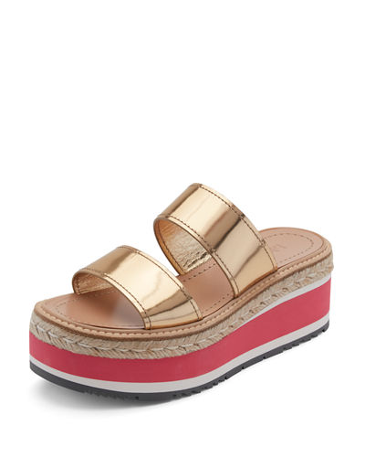 Metallic Two-Band Espadrille Slide